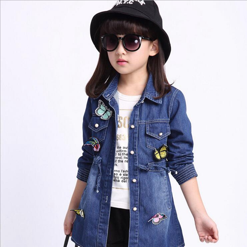 3 10Y children clothing new girls jeans jacket long sleeve lapel ...