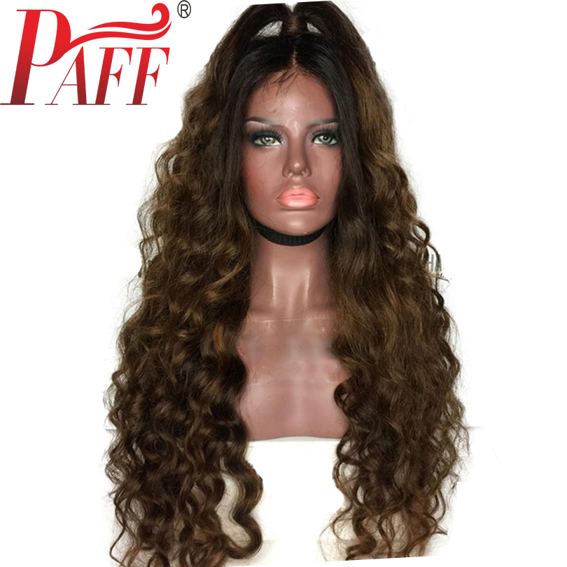 Ombre Full Lace Human Hair Wigs Curly Peruvian Remy Hair Wig 180 Density Two Tone Dark