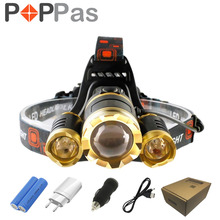 POPPAS LED Headlamp 10000LM CREE 3T6 Chips Headlight  Rechargeable Zoom Head Light Flashlight Hunting 18650 Battery Charger