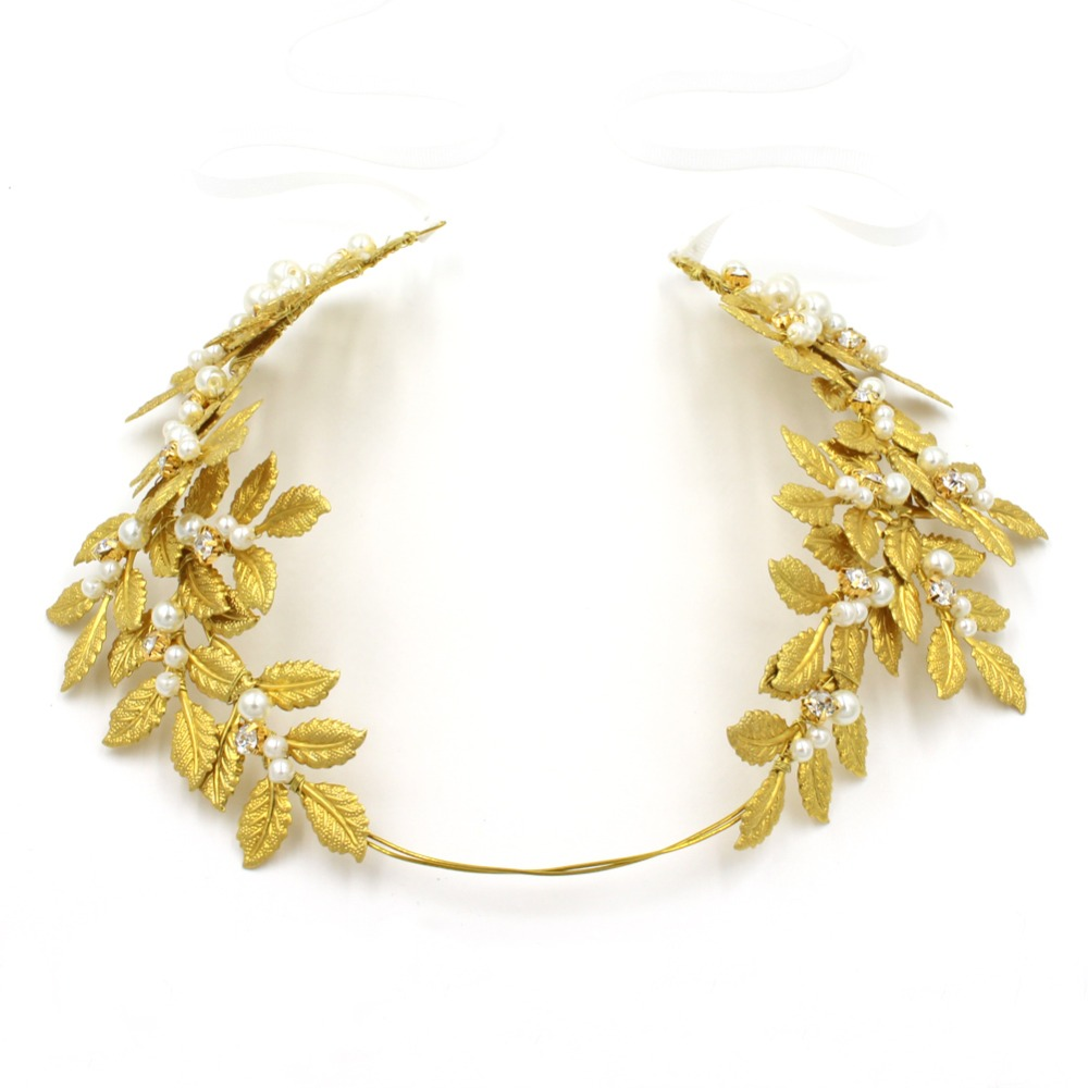 us $14.51 18% off|baroque jewelry new vintage gold leaf pearl headband hair accessories bridal headwear party wedding hair jewelry for brides o502-in
