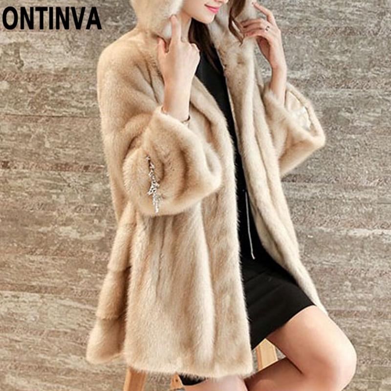 New Fashion Winter Women Faux Fur Jacket Coats Solid Color Hooded Mink Hair Fur Jackets Plus