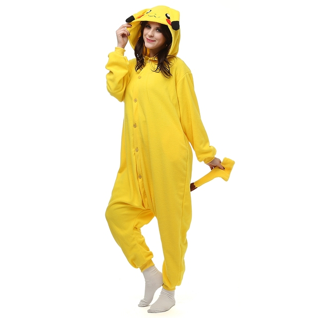 Anime Kawaii Pokemon Pikachu Onesie Pajamas For Adults Women Female Male  Winter Pyjamas Sleepwear With Ears Tails LTY24 f8508a5552e6