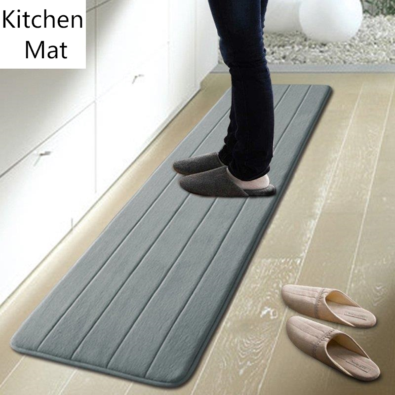 50X80CM 50X160CM Set Absorb Water Kitchen Mat Soft Velvet Sliding Doormat  Anti Slip. long kitchen rugs   Roselawnlutheran