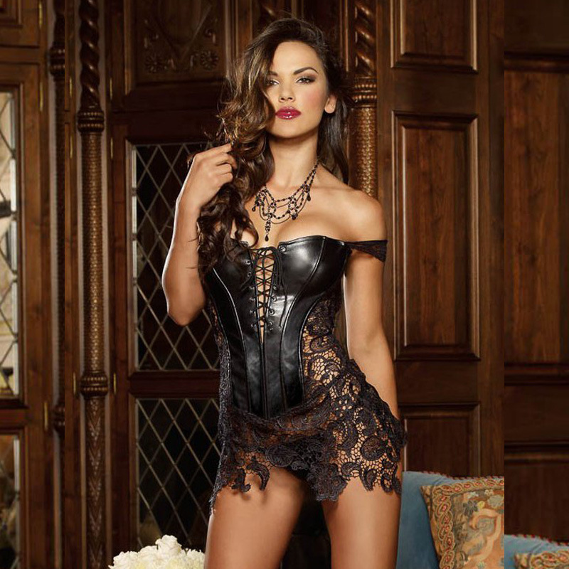 Image 3 - Sexy Lingerie Women Faux Leather&Lace  Corset Steampunk Corset Dress Waist Gothic Bustier Plus Size S 6XL back zipper 3 colors-in Bustiers & Corsets from Underwear & Sleepwears