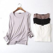 womens top Modal soft long sleeve o-neck  best friends t shirt lady all match Basic tee black gray white woman tshirt цены онлайн