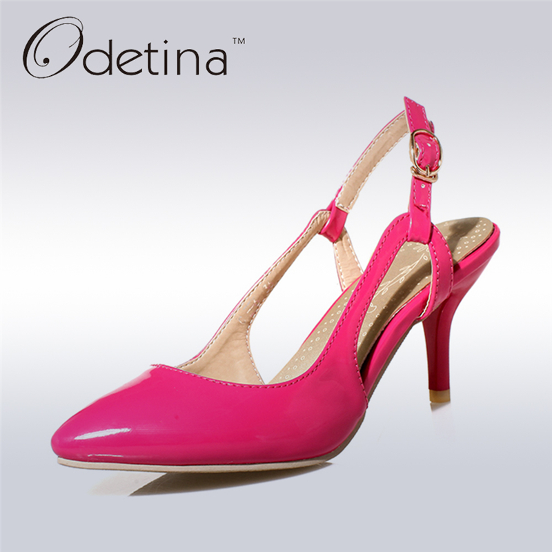 Odetina 2017 New Women Summer Shoes Slingbacks High Heels Sandals Pointed Toe Pumps Buckle Strap Stiletto Heels Big Size 31-46 lady big size 4 15 elegant summer glitter buckle strap soft pointed toe thin high heeled sandals shoes women pumps 5colors girls