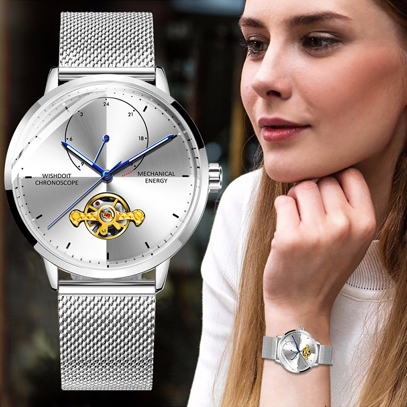 2019 New Women Watch Mesh Belt Automatic Mechanical Watch Top Brand Luxury Stainless Steel Dress Wristwatch Relojes Mujer Box in Mechanical Watches from Watches