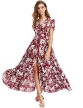 Богемный печати летом длинное платье Элегантные Женские V шеи кнопка дизайн эластичный пояс Сексуальная Сплит старинные макси платья халат Лонге