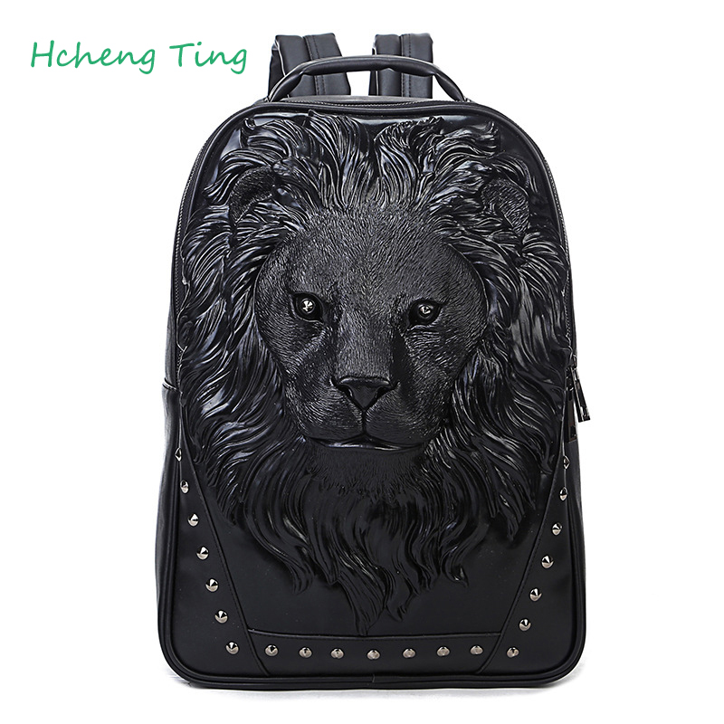 Mochilas Feminina Backpacks for Women Cool  Leather 3D Lion Backpack Female Hot Women Bag BlackMochilas Feminina Backpacks for Women Cool  Leather 3D Lion Backpack Female Hot Women Bag Black