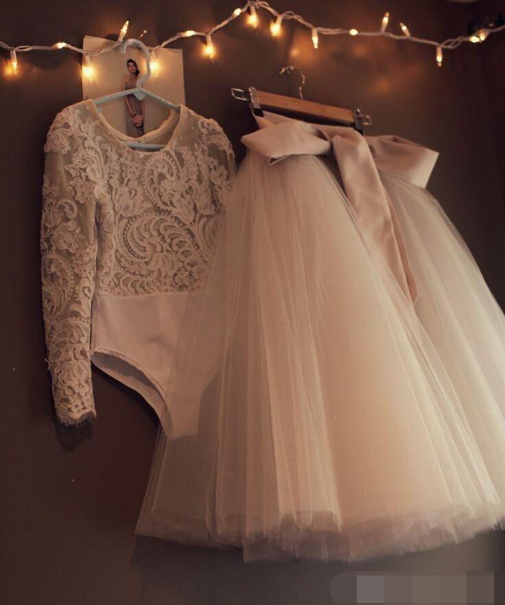 Two Pieces Evening Dress 2019 Tutu Tulle Ribbon Lace Long Sleeve Prom Dresses Tea Length Modest Formal Dress Robe De Soiree