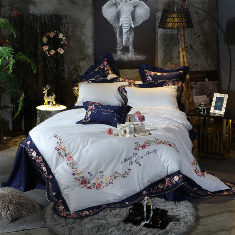 Navy Bluewhite High End Luxury Embroidery 120s Egyptian Cotton