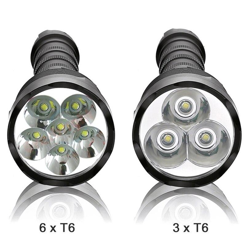 Linterna resplandor LED XML 3T6 6T6 desmontable lanterna 3x18650 batería recargable impermeable camping táctico flash Luz
