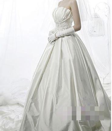 Горячая Распродажа, милое сатиновое свадебное платье без бретелек в Корейском стиле, милое романтичное кружевное свадебное платье принцессы, Vestido De Noiva - Цвет: Белый