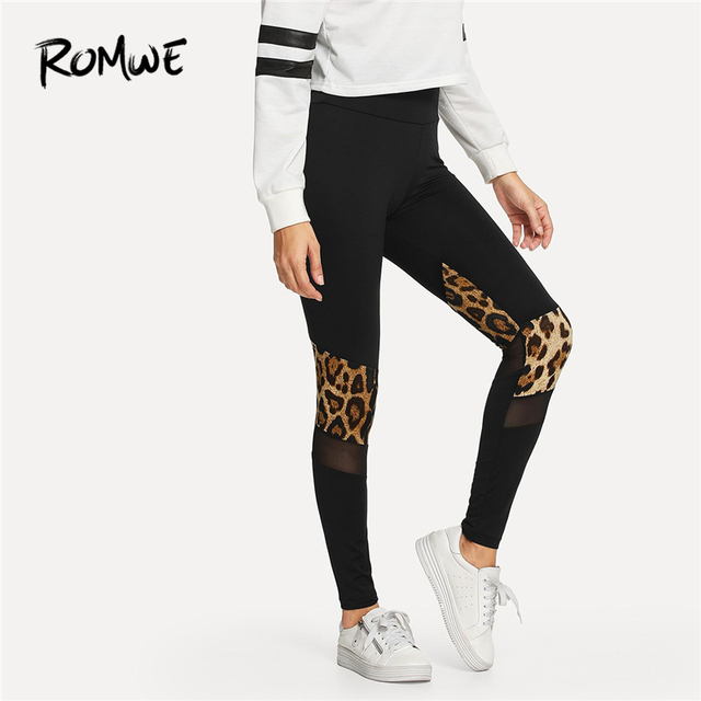 Romwe Sport Black Leopard Print Mesh Exercise Yoga pants Women 2018 Autumn  Fitness Gym Leggings Compression Sportwear Tights 2572ad56a4c4