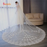 3.5 Meters Cathedral Veils Long Ivory Tulle Wedding Veil with Comb Lace Appliques Elegant Church Wedding Accessories V23