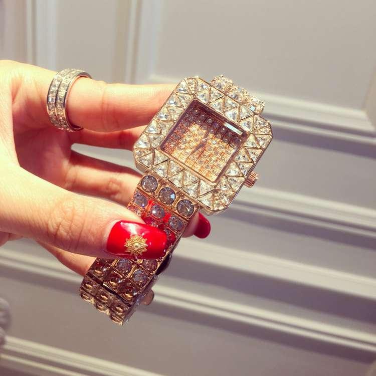 ФОТО Luxury Brand Stainless Steel Watch Women Ladies Fashion Crystal Dress Quartz Wrist Watches Female Full Rhinostone Clock OP001