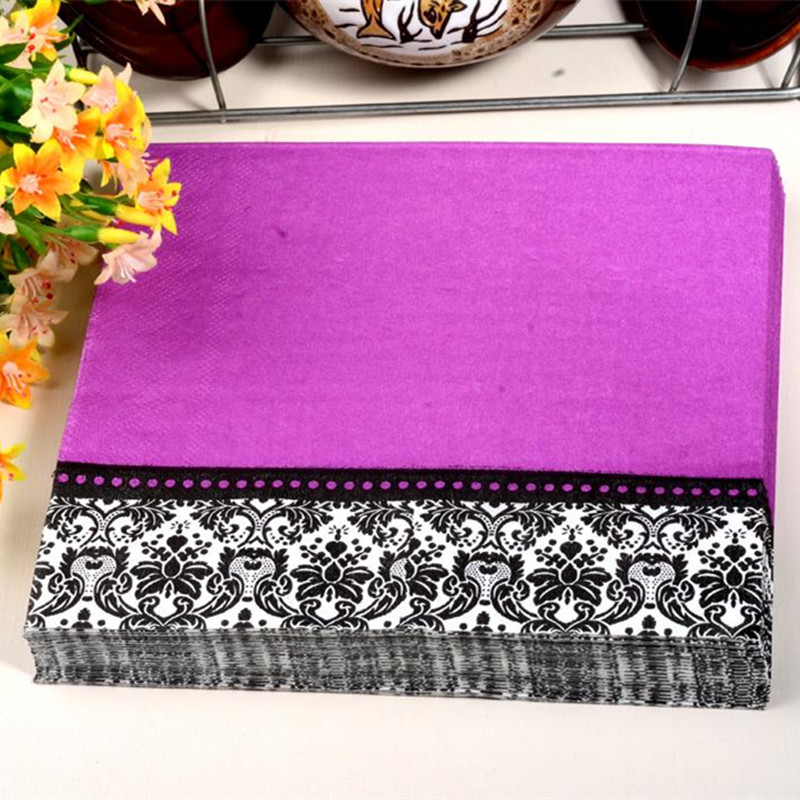 New Food Grade Table Paper Napkins Tissue Purple Printed Vintage Decoupage Wedding Party Festive Decorative Fl Napkin In Disposable