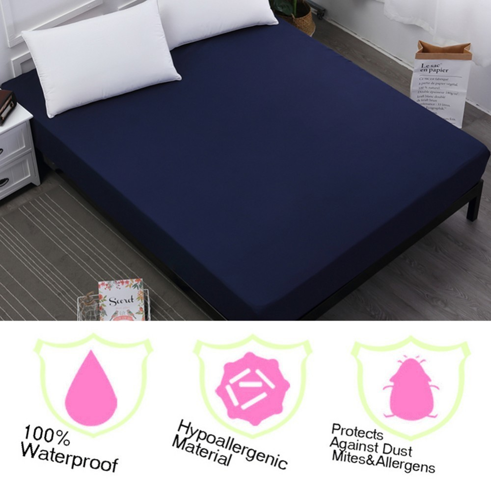 Eco Friendly 100% Waterproof Smooth TPU Mattress Cover Bed Padded Mattress Cover Antibacterial Bed Cover Cool Summer