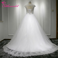 New Custom Made White Wedding Dresses Short Sleeves Cap Sleeves See Through Back Applique Bride Dresses