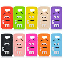 MM Case For Samsung Galaxy S6 3D Soft Silicon Rainbow Bean M&M Chocolate Case Cover for Samsung Galaxy S6 G9200 Drop Shipping