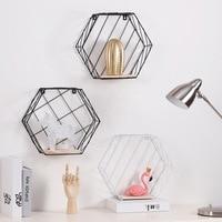 Simple Hexagon Storage Shelf Holder Mesh Frame Creative Nordic Iron with Wood Mesh Wall Mounting Shelf Wall Decoration Shelves