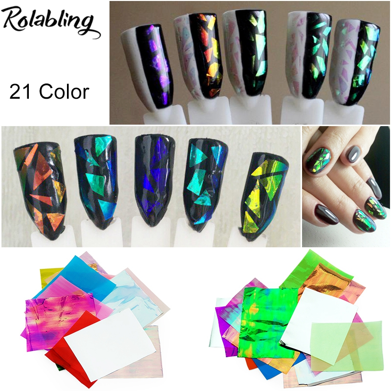 New Arrival 21Pcs/pack Different Colors Nail Art Stickers Broken Glass Pieces Mirror Foil Decals Beauty Decoration Tool DIY 3d 12 candy colors glass fragments shape nail art sequins decals diy beauty salon tip free shipping