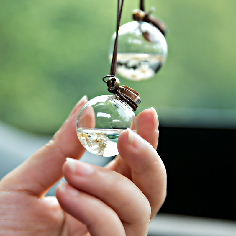 Car Hanging Perfume Pendant Bottle Air Freshener With Flower Auto Essential Oils Perfume Bottle Diffuser Automobiles Ornaments