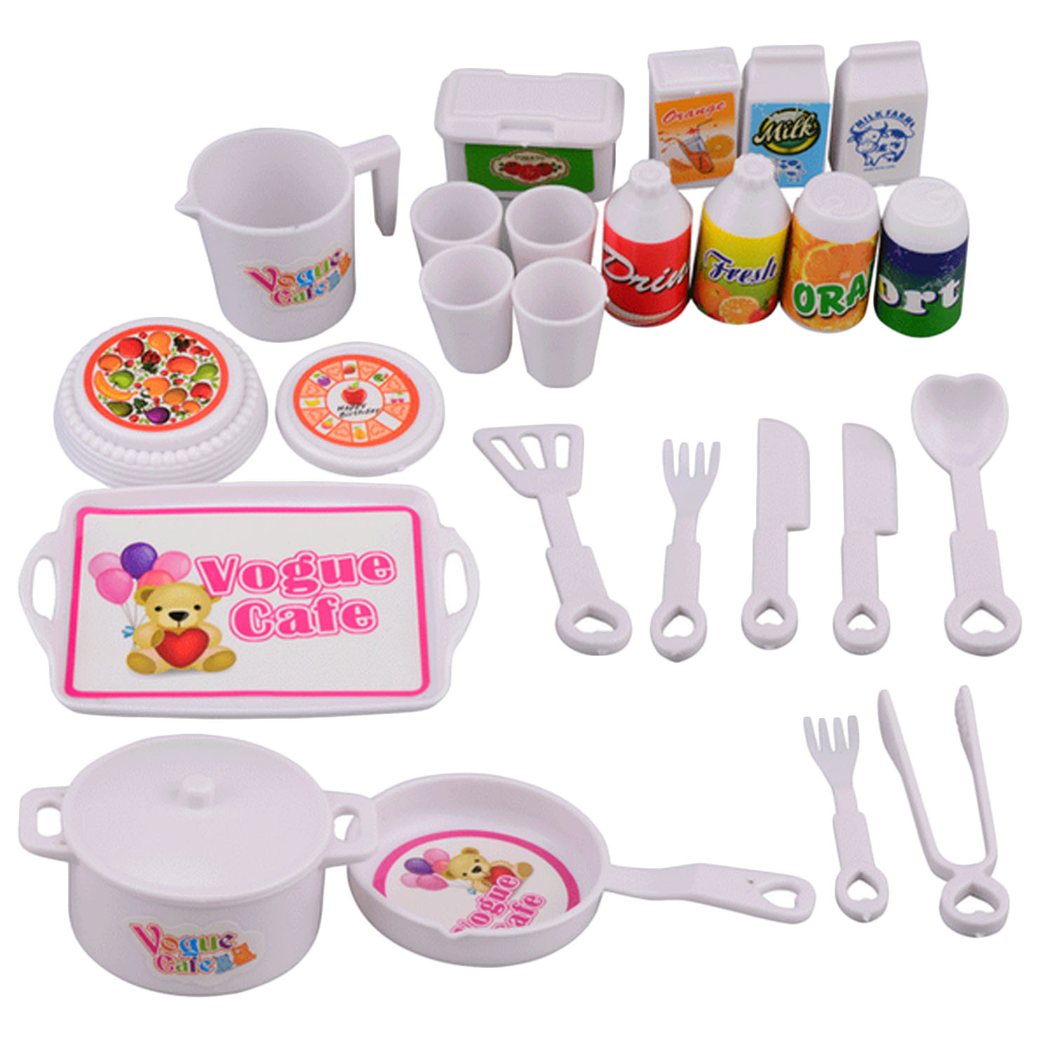 25Pcs Cute Simulation Doll Pretend Play Toy Set Miniature Doll Toys Pots Pans Spoons Cups Knives Cookware For Doll Pretend Toys