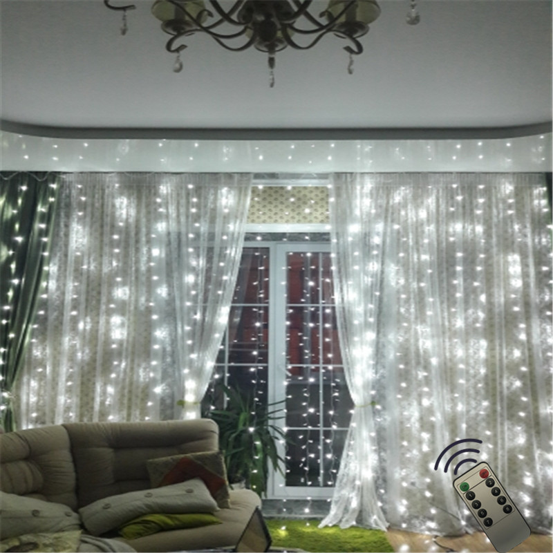 Led Christmas Lights For Room.Us 22 08 15 Off 6x3m 600led Icicle Window Curtain String Light Remote Led Christmas Lights For Wedding Party Home Garden Bedroom Wall Decoration In