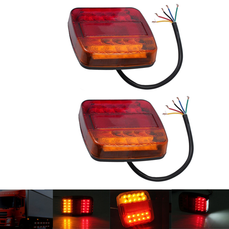 2Pcs 12V Trailer Truck Caravan 26 LED Taillight Tail Rear Light Turn Signal Brake Stop Lamp 6LED Number Plate Light Boat Pickup