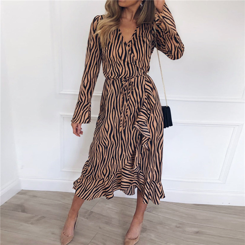 Summer Long Dresses 2019 Women Zebra Print Beach Chiffon Dress Casual Long Sleeve V Neck Ruffles Elegant Party Dress Vestidos 1
