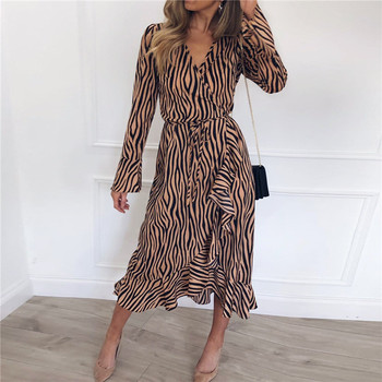 Maxi Dress Casual Long Sleeve V Neck