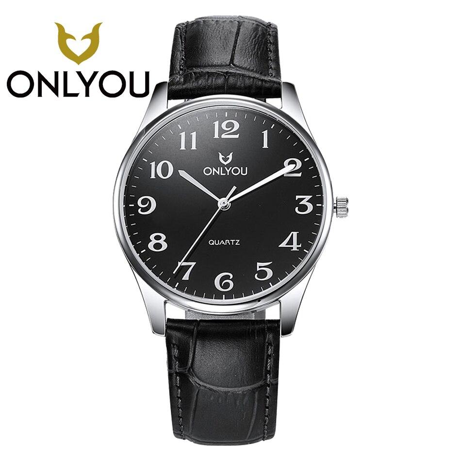 ONLYOU Casual Men Women Leather Watchband Wristwatches font b Military b font Quartz Men s font