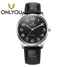 ONLYOU Casual Men & Women Leather Watchband Wristwatches Military Quartz Men's Watches Woman Watch Relogio Masculino Wholesales