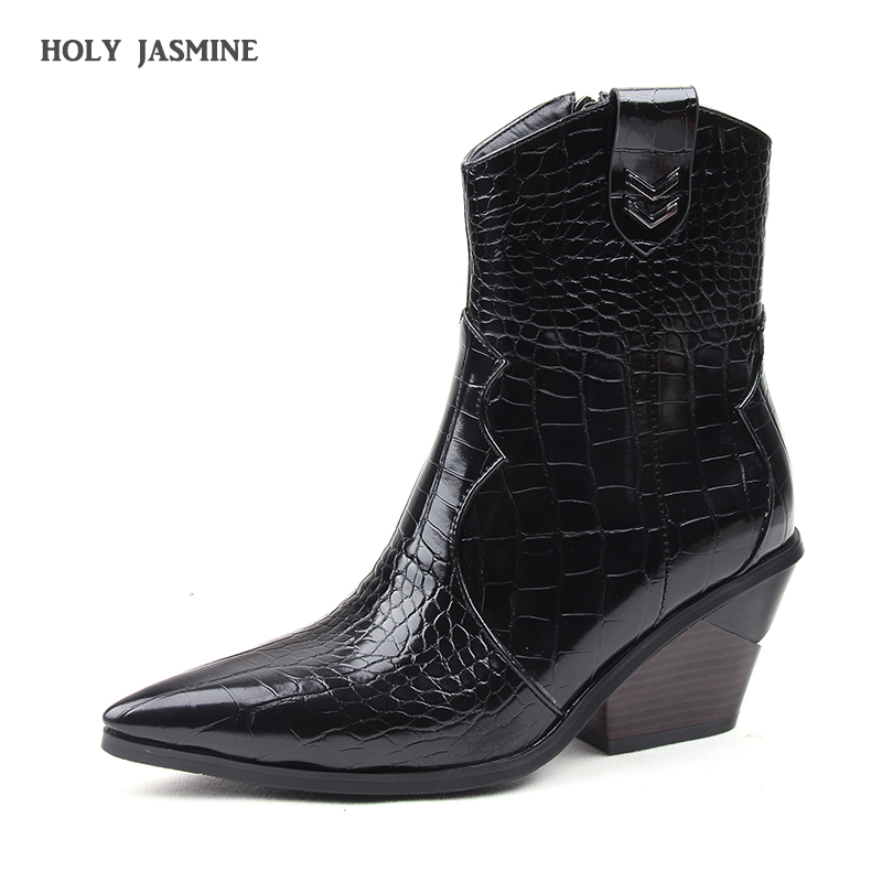 Brand Fashion Embossed Microfiber Leather Women's Ankle Boots Pointed Toe Western Cowboy Boots Women Wedges Riding Runway Boots image