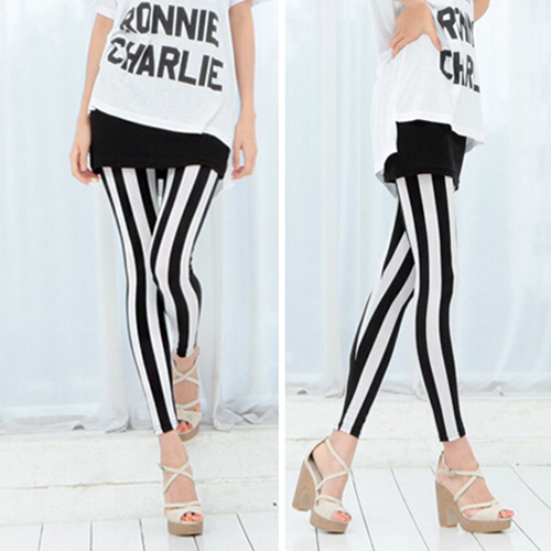 Fashion Women's Black White Vertical Stripes   Leggings   Raps Skinny Pants Retail/Wholesale 6DNT