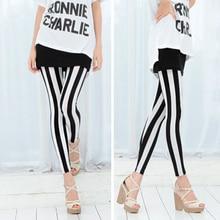 Fashion Women's Black White Vertical Stripes Leggings Raps S