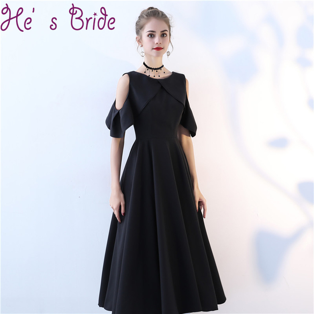 Evening Dress Elegant Black Scoop Neck Short Sleeves Zipper Back Vesta De  Festa Satin Lace Ankle Length Simple Party Prom Dress a9e7a9b6fb49