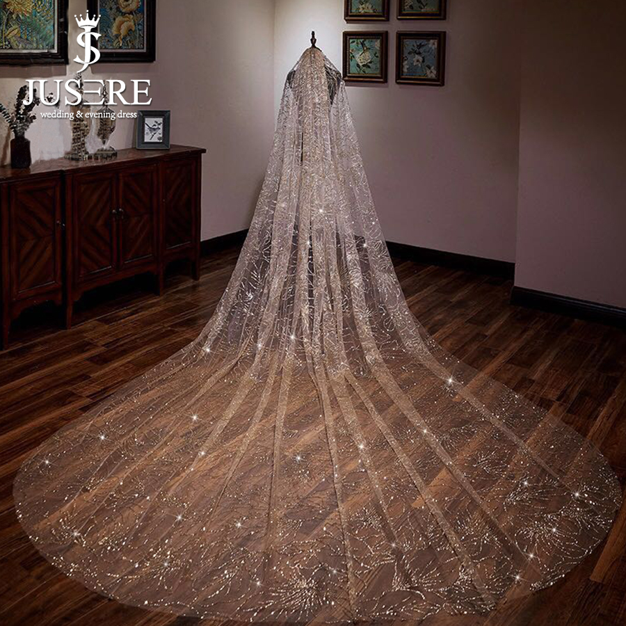 Jusere Champagne Golden Shiny New Arrival Long Train Marriage 3m Sparkle Bridal Veil 2018