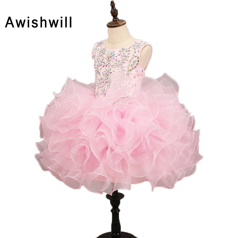 Real Photos Pink Communion Dresses Sleeveless Beadings Organza Short Flower Girl Dress 2019 For Wedding Party