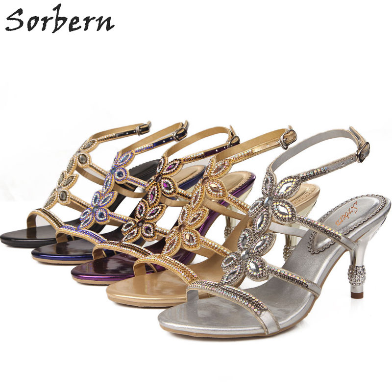 Sorbern Crystal Women Sandals Rhinestone Bridal Wedding Shoes 7.5CM Heels Sandalias Mujer 2018 Sandals Women Luxury Shoes