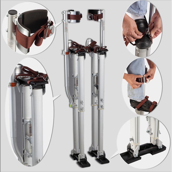 "2018 New Aluminum Tool Stilts 24"" to 40"" Adjustable Inch Drywall Stilt for Taping Painting Painter Taping silver"