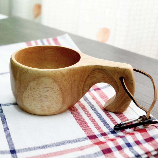 hecho a mano puro de goma de madera taza de caf tronco tazas forma de decoracin