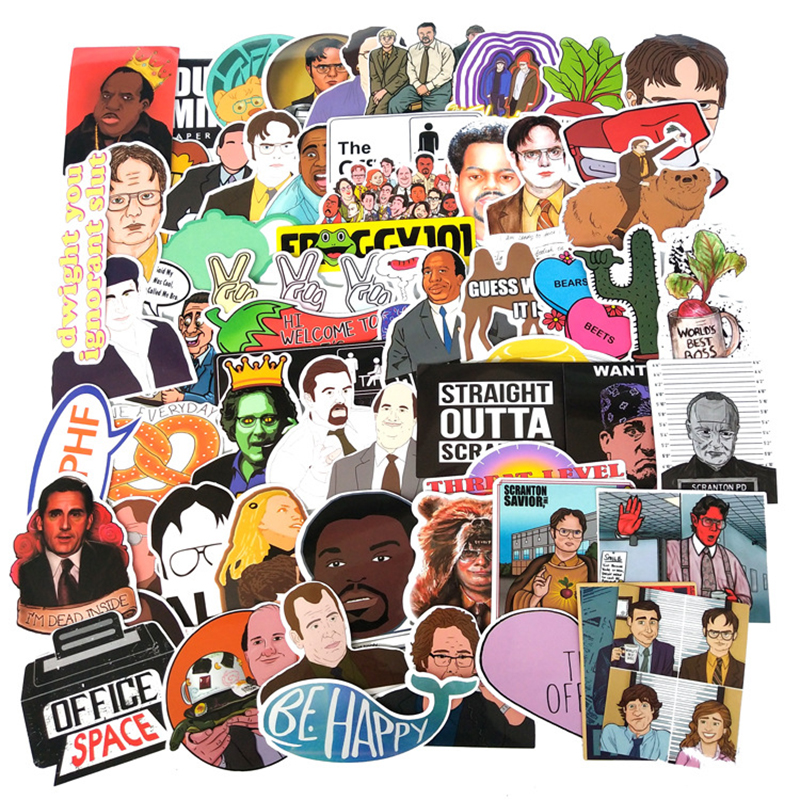 62Pcs/Set The Office Decal Stickers US TV Series For Luggage Motorcycle Laptop Refrigerator Toy Car Pvc Waterproof Sticker F4
