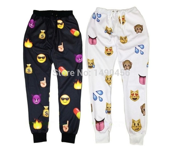 Fashion 2016 Men's 3D Emoji Joggers gymnasium Pants Boys Fitness Sweat Pants,Smile Cartoon Sweatpants fit Pant Men