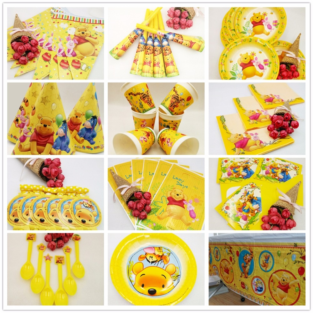 Disney Pooh Bear Party Decorations Kids Birthday Decoration Set Party Supplies Baby Favorite Set Bear Party