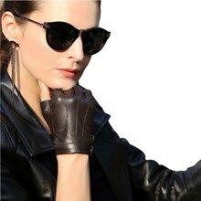 Genuine Leather Half Finger Women Gloves Solid Color Fashion Casual Elegant Lady Semi-Finger Sheepskin Glove L135NN