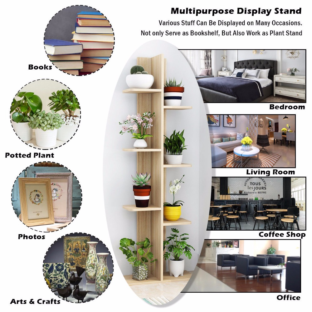 Giantex Open Concept Bookcase Plant Display Shelf Rack Storage Holder Wooden Walnut Living Room Furniture HW57374NA In Bookcases From On