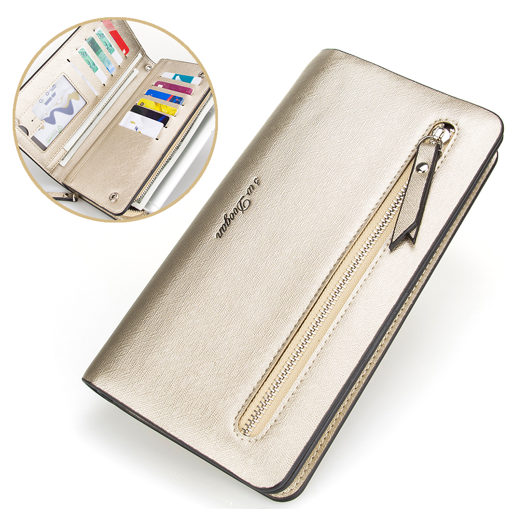 New Gold Bifold Wallet Women Leather Wallet Card Phone Holder Zipper Purse Hasp Woman Wallet Long Organizer Wallet Handbag thinkthendo women leather card phone holder long arrow wallet checkbook tassel handbag purse