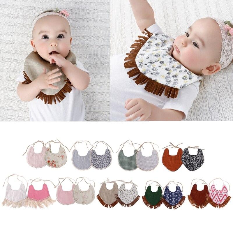 NoEnName-Null Baby Double-Sided Printing Tassel Saliva Towel Bandana Triangle Bibs Head Scarf